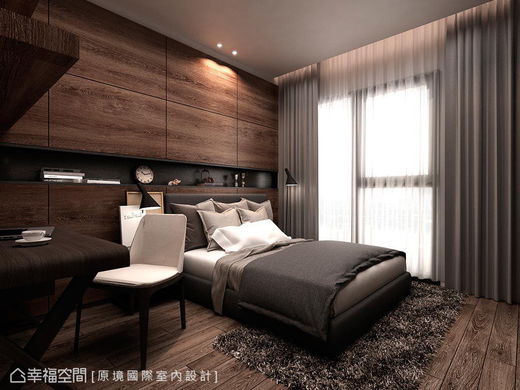 使用溫潤木質為基調,以獨特的肌理表現在「地與壁」之上,並構置放置生活用品的床頭平台,推演悠然的生活態度。