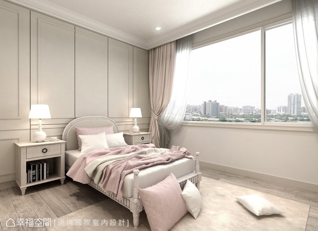 粉嫩的空間色調,搭配美式線板的主牆立面,優美且典雅的表現方式,演繹超夢幻的小小天地