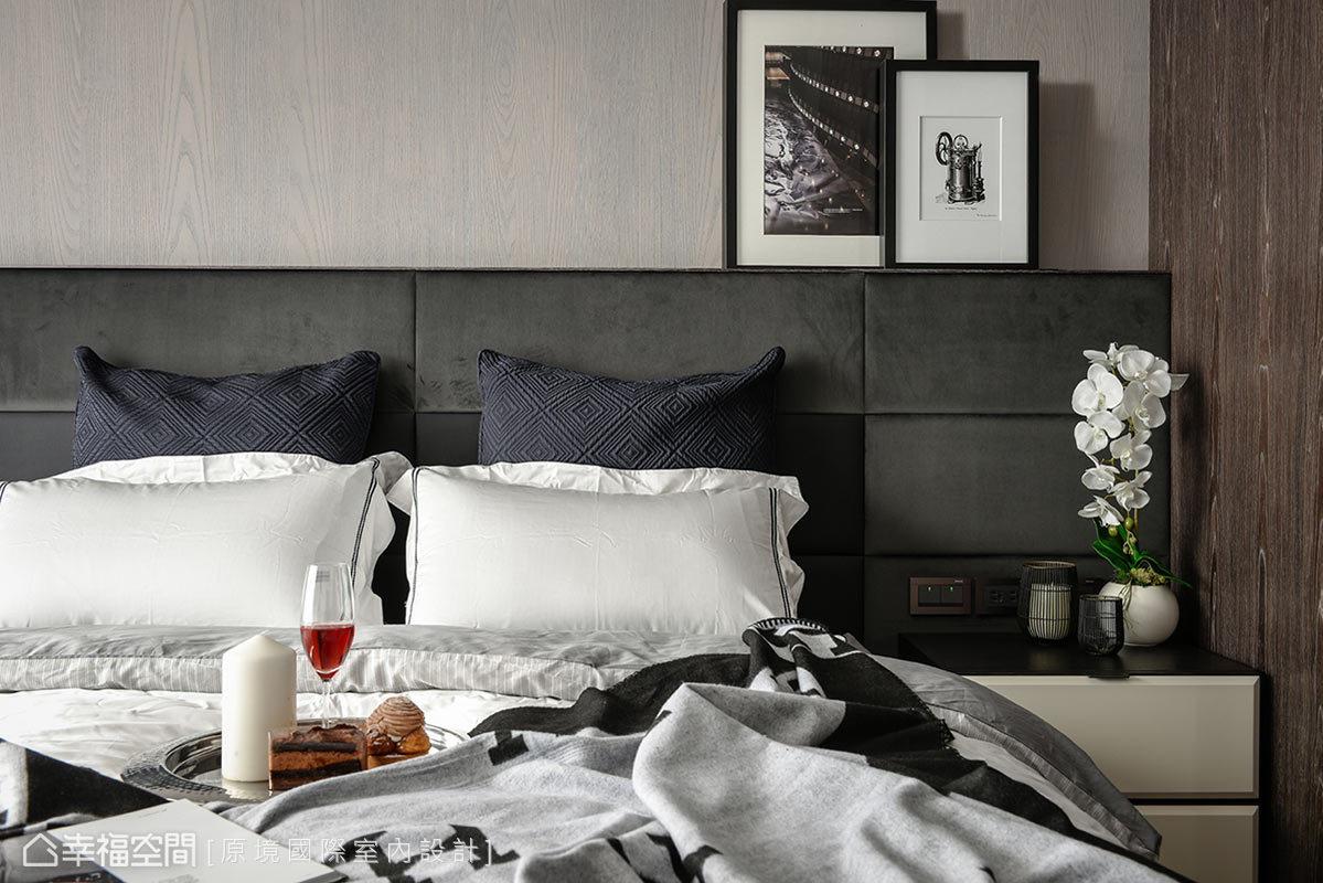床頭背板呈現出木質紋理,帶來自然溫潤感受,結合黑白灰軟件布置,圍塑出舒適簡約的睡眠環境。
