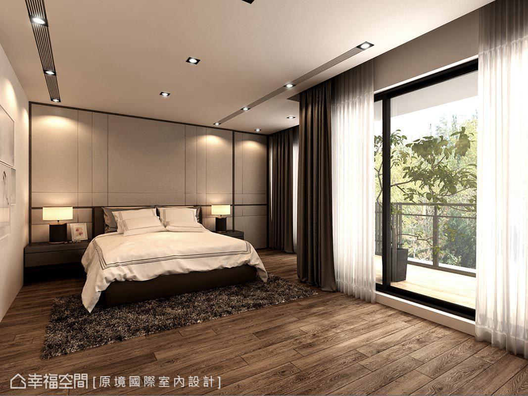 採大地色系傢俬妝點睡眠空間,奶茶色主牆拉以線條鋪飾立面,共築柔和優雅氣氳。