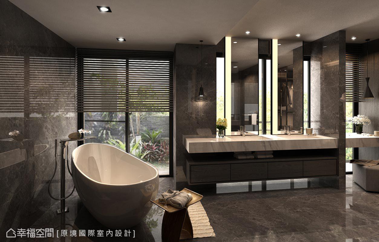 以飯店式設計雙洗手檯,並將浴缸安排於窗邊,替浴缸改寫固定分配於角落的印象。
