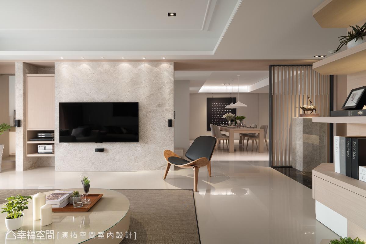 柔和的色彩與燈光,完美賦予公領域優雅氣質,並依循屋主習性及需求,構築一系列客製化設計,讓空間好住、易清潔。