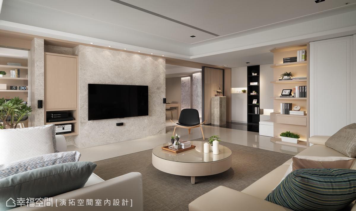 以石材作電視主牆元素,並於喇叭開口預留木頭墊以防止大理石脆裂,注重場域細節,形塑美觀實用的安全居所。