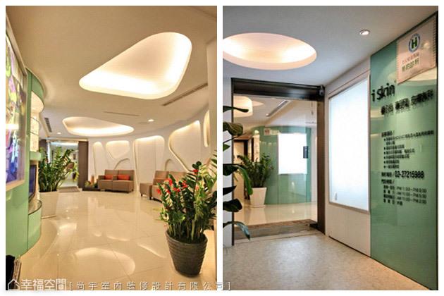 以明亮清新的設計風格,減少診所常有的距離感,並於入口帶出醫學美容中心的專業形象。
