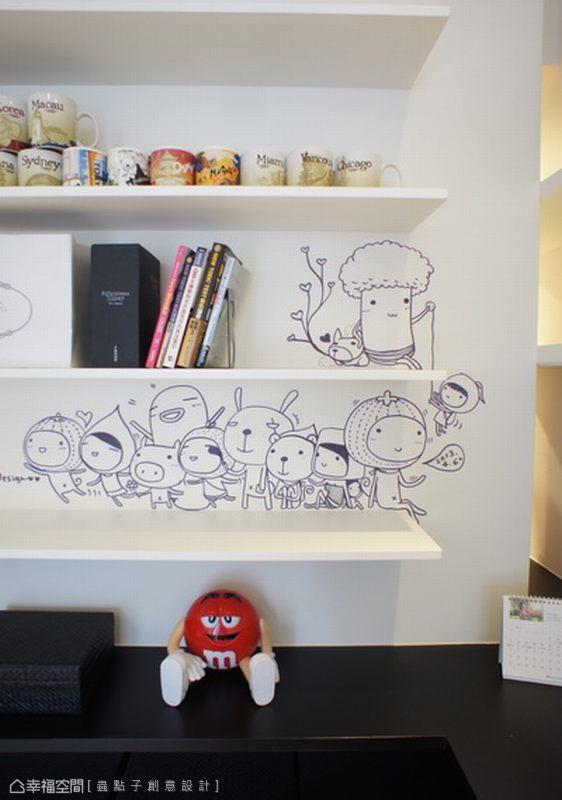 獨自忙於工作時,一轉頭所見的創意插畫,讓心情不自覺輕鬆了起來。