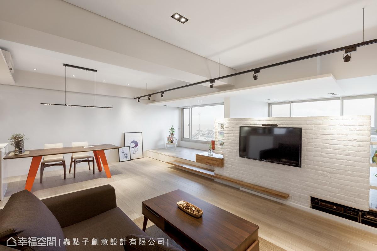 蟲點子設計將居家場域形塑成飯店式的開放形式,讓整個空間更顯大器寬敞。