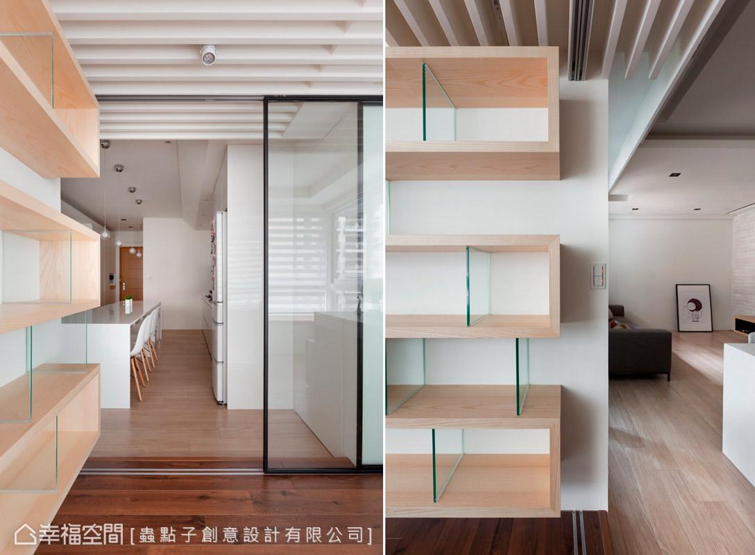 簡約俐落的書櫃設計,以線條來作主題的勾勒,讓創意美感與機能性兼具。
