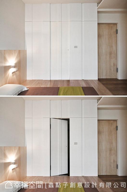 床邊一側立面,同樣以簡約的線面來處理,隱藏門的規劃更消弭廁所對門的問題。