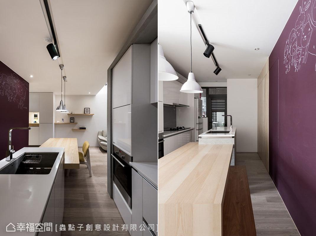 以一字形規劃取代L形廚房,創造出回字動線,形成寬敞的走道空間。