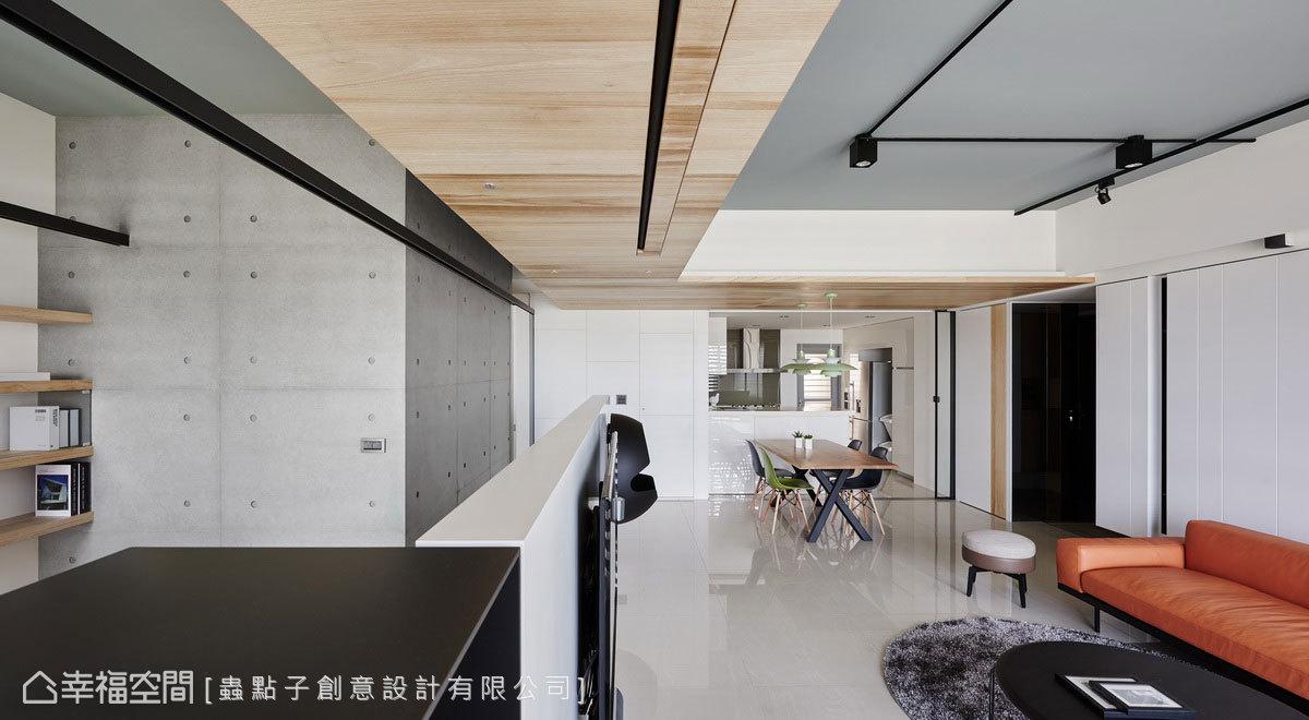 書房照明設計融入折板元素,將軌道燈和臥室拉門軌道整合,轉折出各種不同空間機能,塑造綿延不斷的線條感。