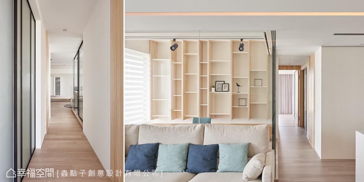 除了書房使用玻璃隔間外,小孩房門片也改成鐵件玻璃拉門,一旦主臥門片敞開,光線得以從四面八方湧入。