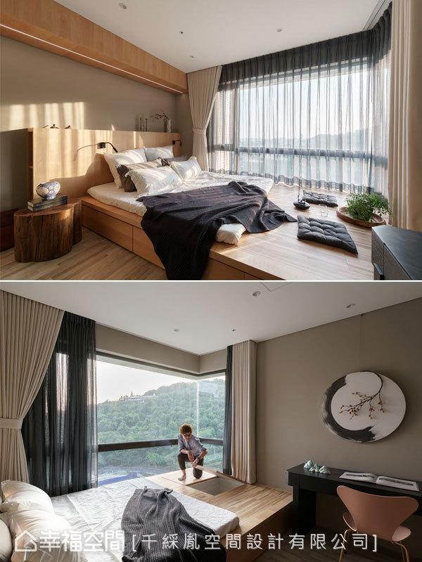 由於女主人有瑜珈及靜坐習慣,因此將床組架高成日本榻榻米式設計,方便使用。下面為強大的收納空間。