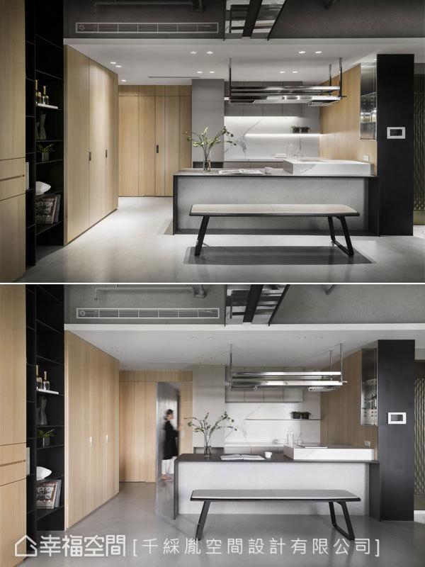 由於建築體的電梯狹小,因此屋主希望一進門能看到大餐桌,調節視覺效果,但在橫切面採輕量化處理,讓量體不會太沈重,連同餐椅也以同樣手法處理。