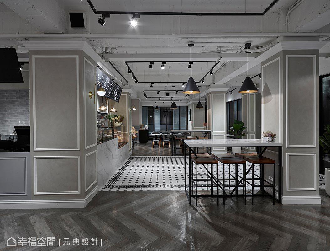 利用花磚與木地板巧妙界定點餐區及用餐範疇,用餐區更特意選用深淺不一的木地板做人字型拼貼,豐富消費者的視覺感受。