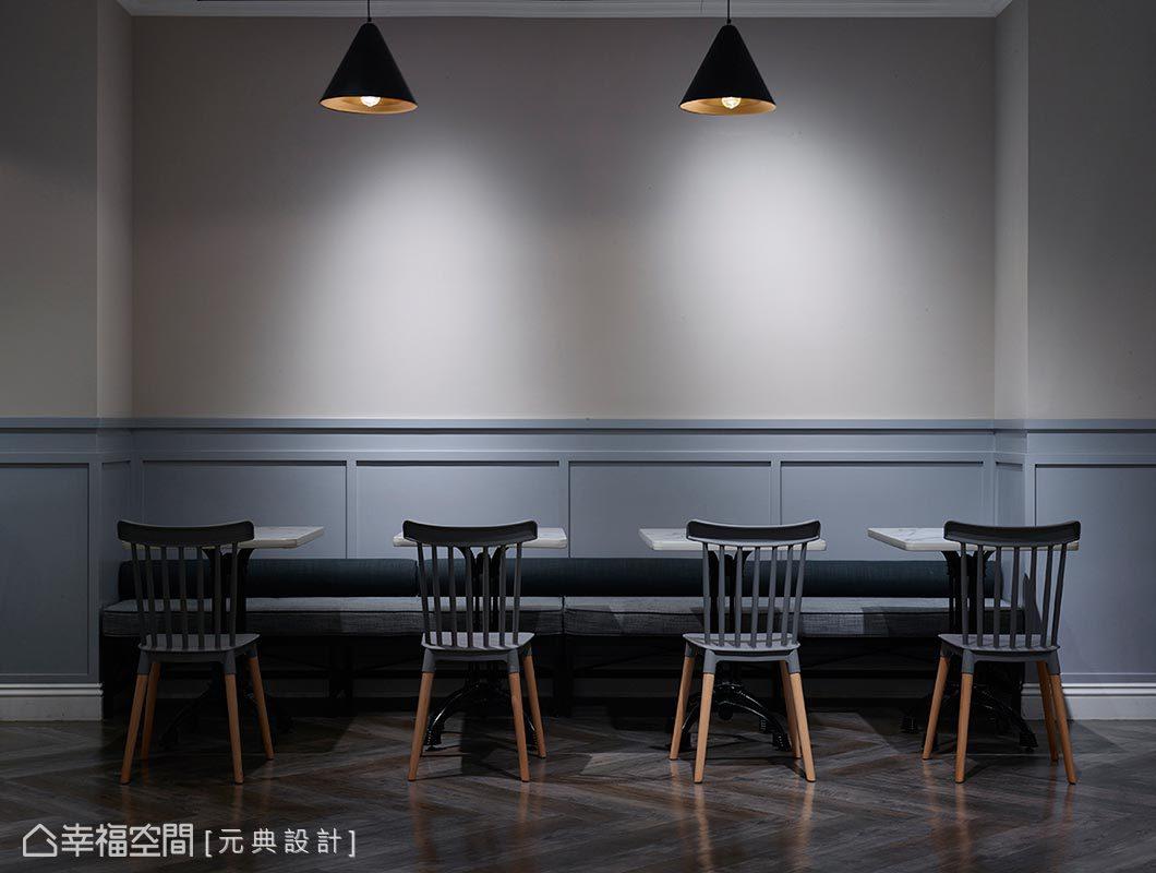 選用靜謐高雅的灰藍色腰板,搭配質樸調性的水泥粉光塗料,使歐風氣韻得以完美展露。