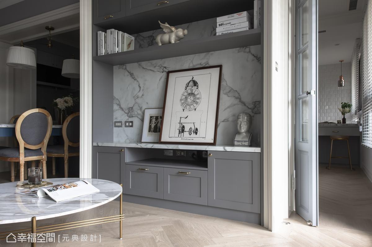 彭立元設計師巧妙設計,以恰到好處的灰色調與大理石相互應和,產生和諧的視覺之美。