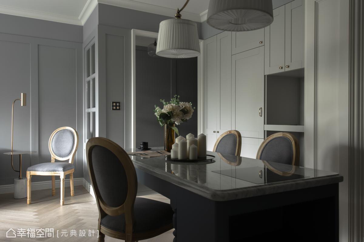 俐落空間線條與寧靜的灰與白鋪陳沉靜設計語彙,運用燈具與家具描繪出空間最優雅食飲風貌。