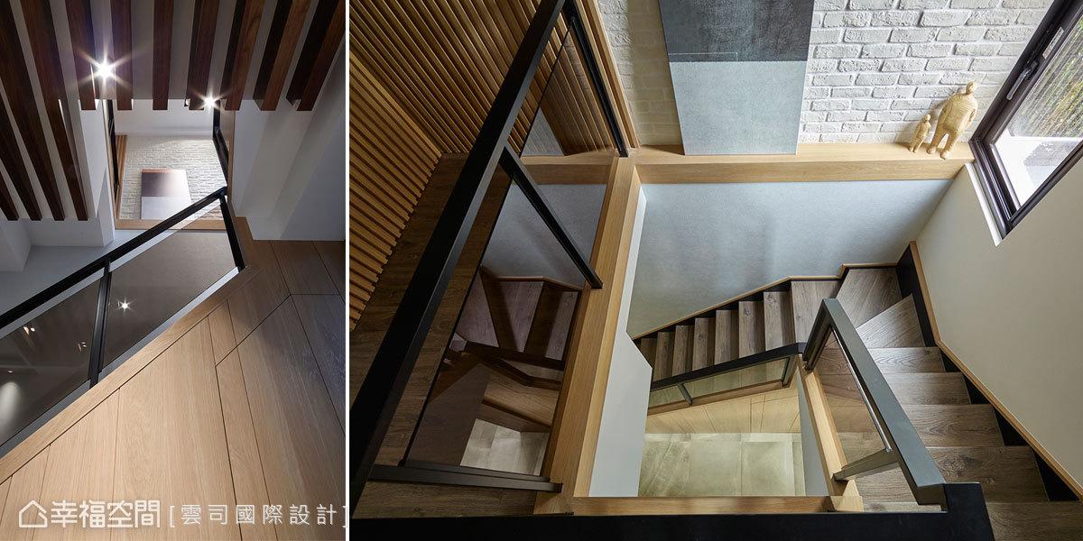 設計師廖笠庭變化梯體的位置形制,於室內構築天井效果,援引樓上日光灑落至一樓中段場域,營造通透採光空間。