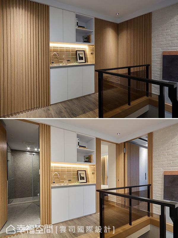 運用隱藏門手法將動線全收於隔柵立面之後,圍塑明亮細緻的迴廊風景。茶水間的設計讓兒子們的專屬樓層空間機能更加獨立便利。