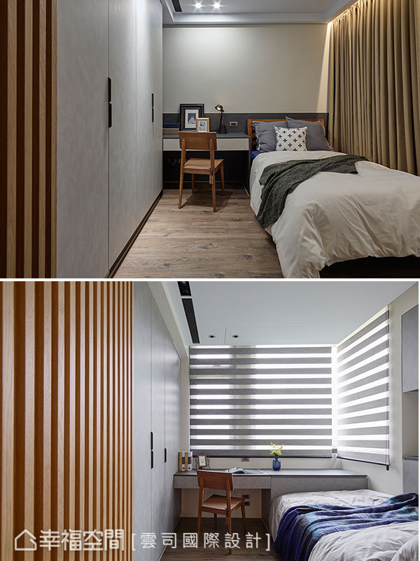 兩個兒子房間皆配置大衣櫃及書桌,機能完整充沛。緊鄰而居的格局可保有個人隱私又能緊密互動,契合屋主期待。