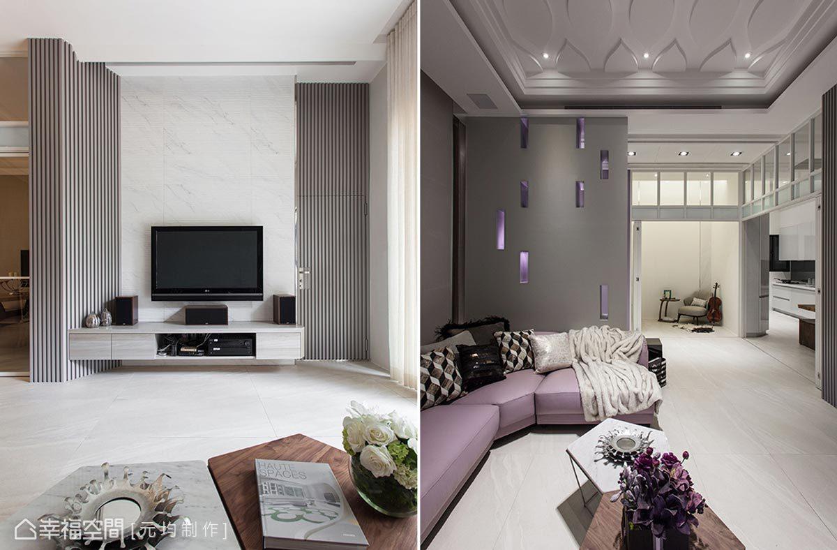 挑高空間首重透過視覺延伸達到氣勢感的營造,在天花板的設計上,則運用古典語彙的立體造型,讓美感享受呈現4D環繞。