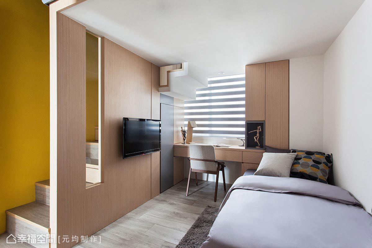 小孩房以樓中樓的格局讓兩個男孩可以同房而居,並能擁有各自獨立的空間。