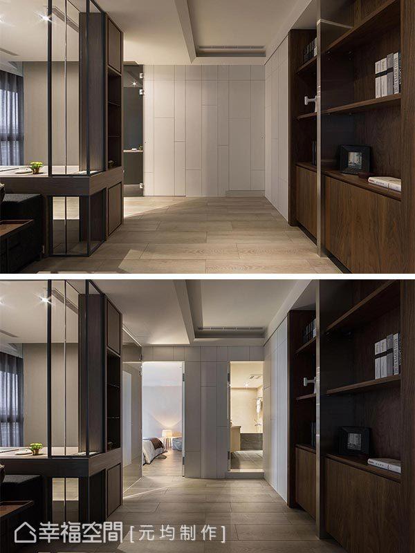 運用線條造型面板將房門入口藏於壁面中,打造清爽俐落的立面視覺。