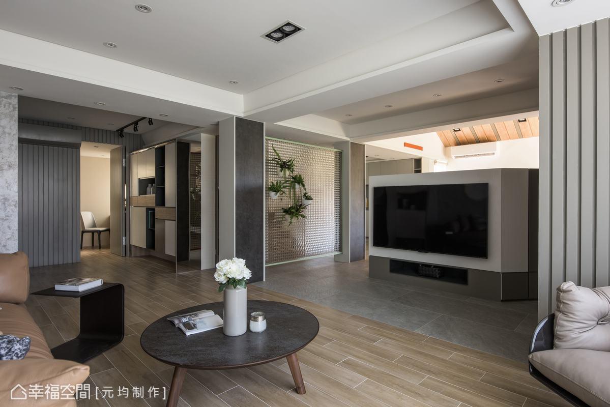 透過格局翻轉的調整,客廳採光能夠一路延伸,整個空間都能感受到山城中的自然氛圍。
