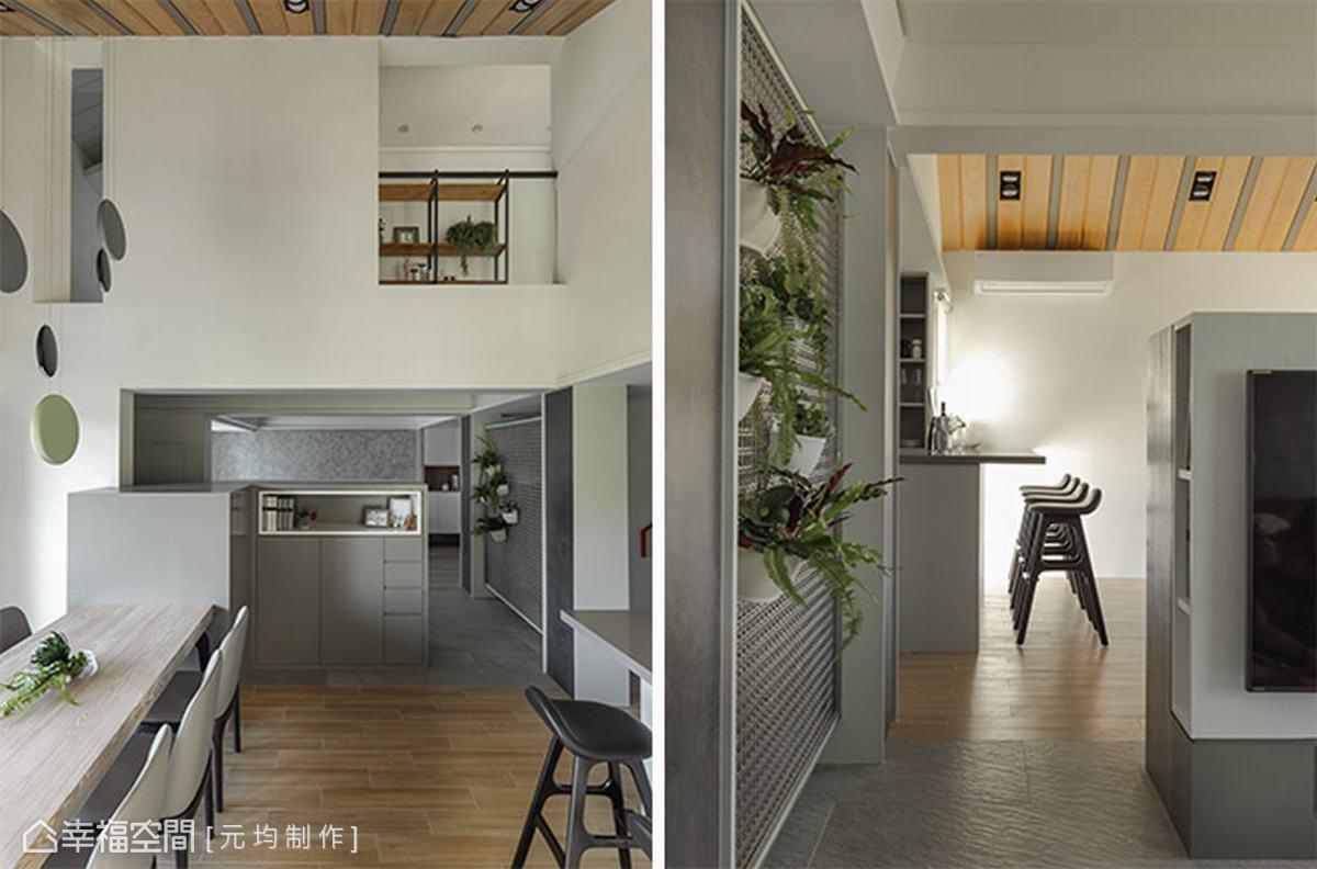 餐廚區同樣擁有良好採光,而大型吧台主要讓女主人作為烘焙使用,吧台下方也有兩面的收納空間。