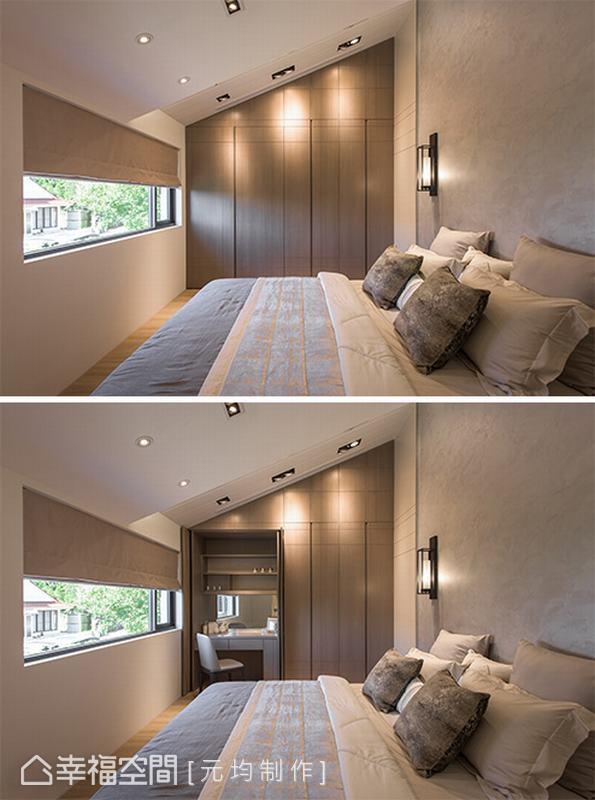 主臥房前方可見室外綠意,光線灑入搭配斜屋頂造型及牆面的特殊漆,讓整體空間更為舒適。