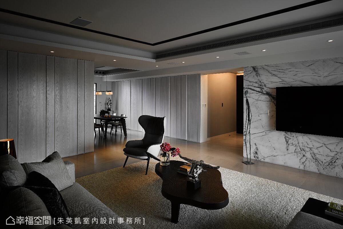 牆面與櫃體的立面線條,讓整體空間展現現代感的視覺美學。