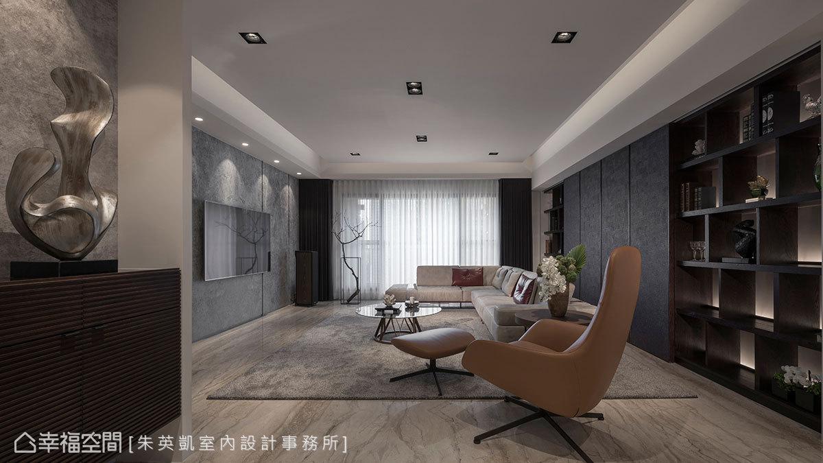玄關牆面底部呈現出雲彩紋理,在光線投射下變化出萬種層次,並在端景櫃擺放金屬光澤感藝術品,以藝術入室手法創造出端景意象。