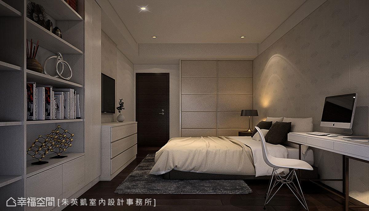 朱英凱設計師使用造型壁紙,讓床頭牆成為視覺焦點,衣櫃門片則利用皮革帶來溫潤感,結合幾何線條造型增加層次性。