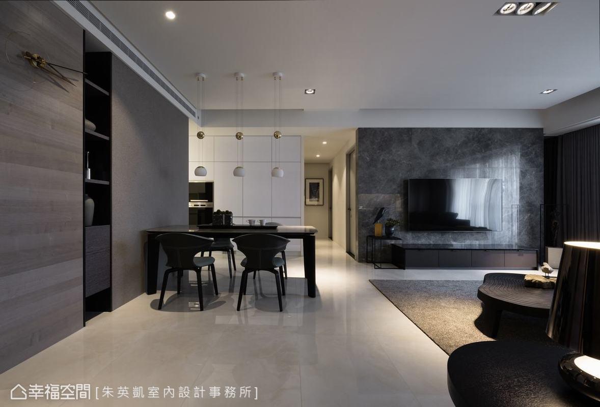 朱英凱室內設計事務所運用大理石、木皮、烤漆玻璃等多種材質點綴空間,不同紋理與色澤,拼貼出層次感。
