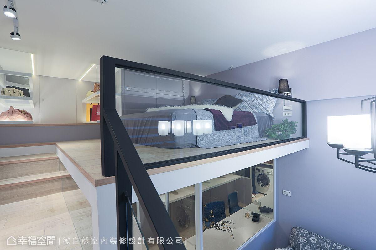 考量到屋高限制,樓梯走道的過渡區域透別預留足夠高度,讓屋主上樓時不必彎腰。