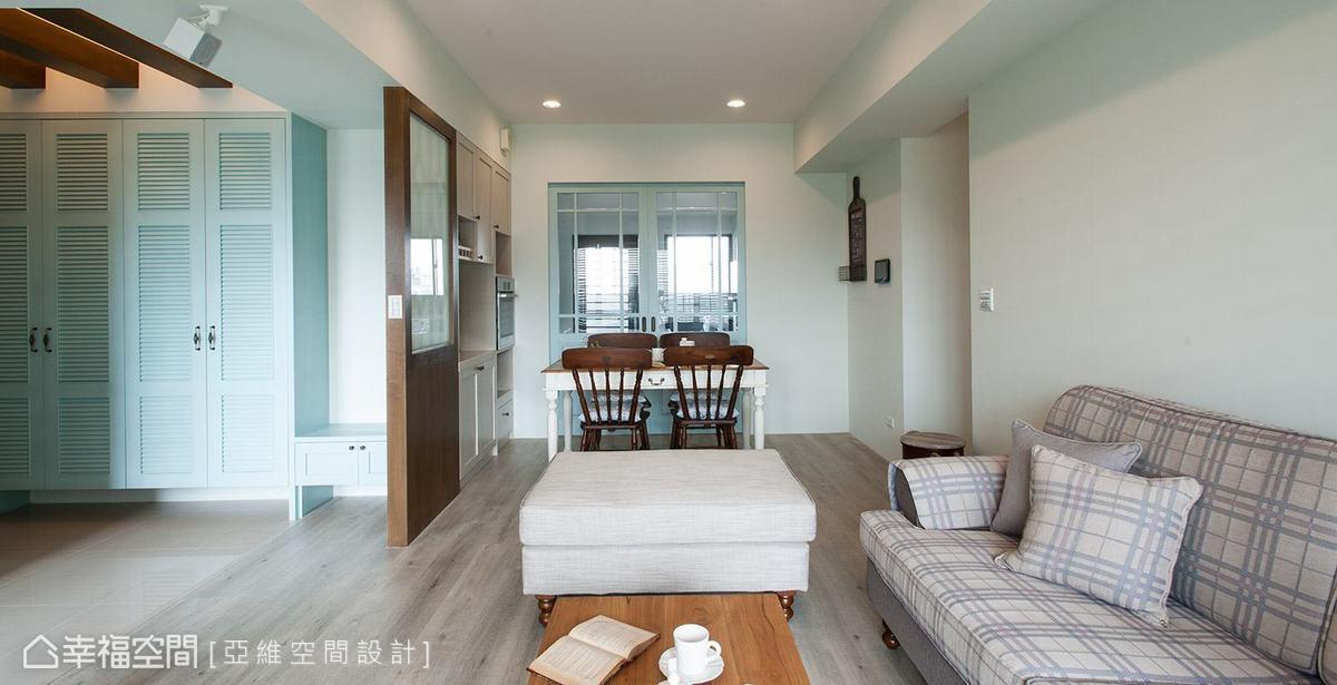 亞維空間設計特別將屋主喜愛的淺藍色調點綴在場域當中,為居家空間增添活潑感。