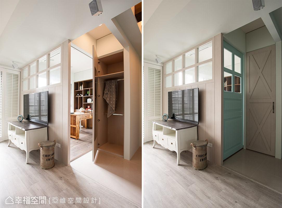 挪動書房入口動線後,創造出可以收納外出衣物、生活用品的置物空間。