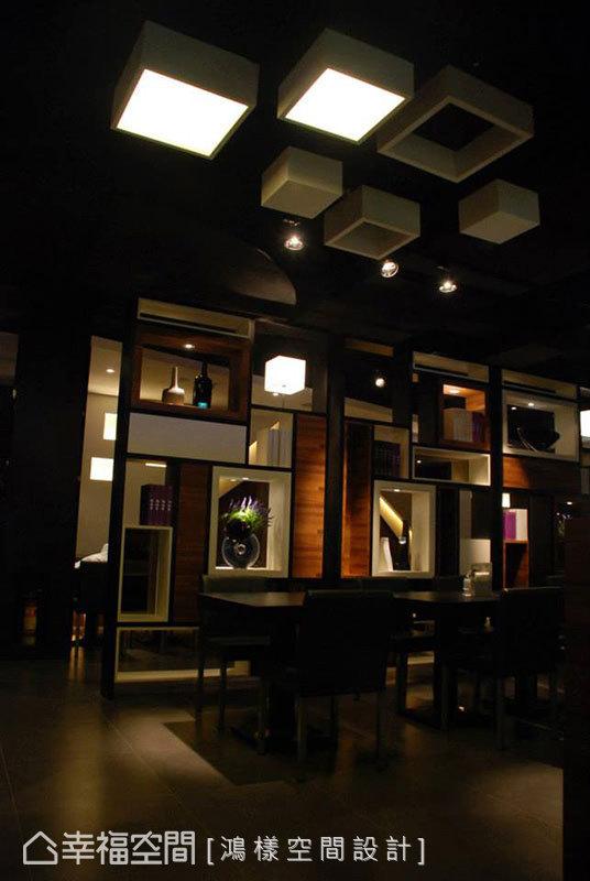 延續立體方塊造型,天花板變化出各種形式,產生趣味的連結和呼應。