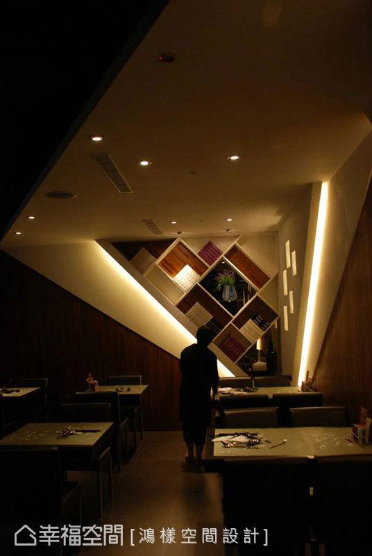 立體演繹的空間語彙是重點之一,從角落帶給用餐貴賓不同的視覺享受。