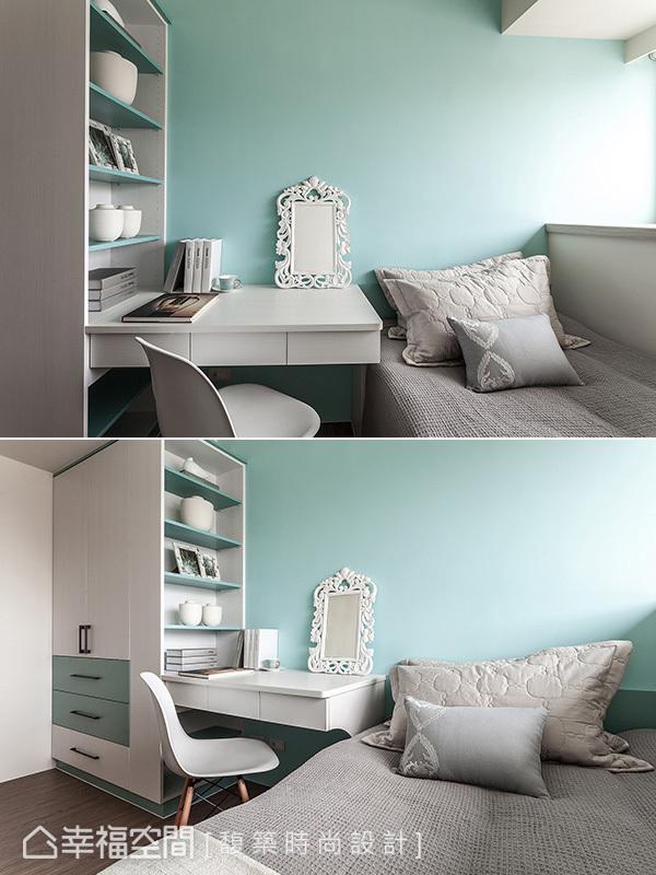 tiffany藍牆面選搭,增添白灰色系女孩房的浪漫情調。