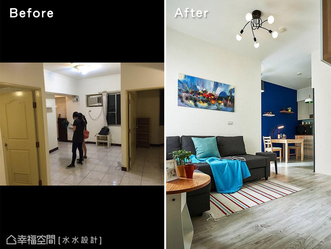 透過簡單的家具、軟件以及色彩的搭配,就能讓原先平凡無奇老屋,跳出的鮮明的個性表情。