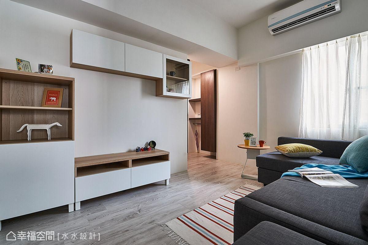 充分利用空間段落,安排各種形式的櫃體機能,創造足夠的收納空間。