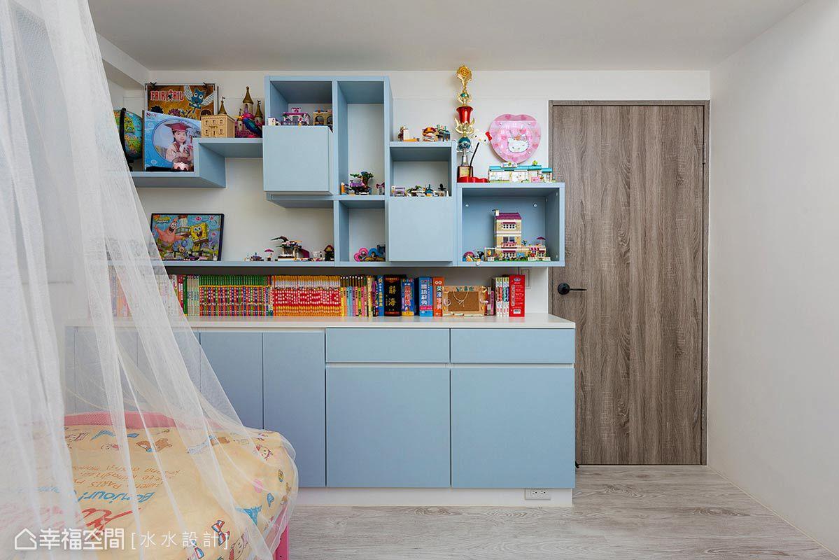 運作設計的想像及無限可能,以繽紛色調及多元的櫃體形式,勾勒屬於小女孩的甜蜜城堡。