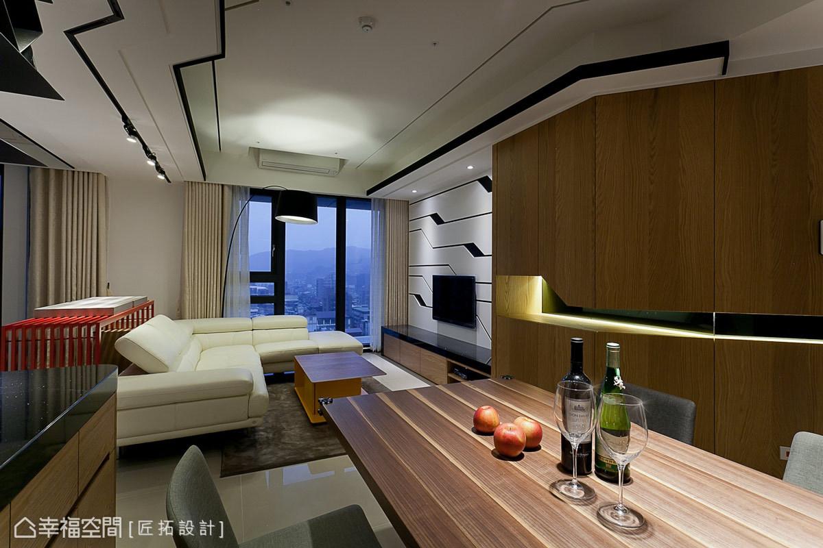 設計師戴吉榮與蕭家宏在公共空間的天花板,藉由黑色的線條鋪設出充滿律動的設計感。