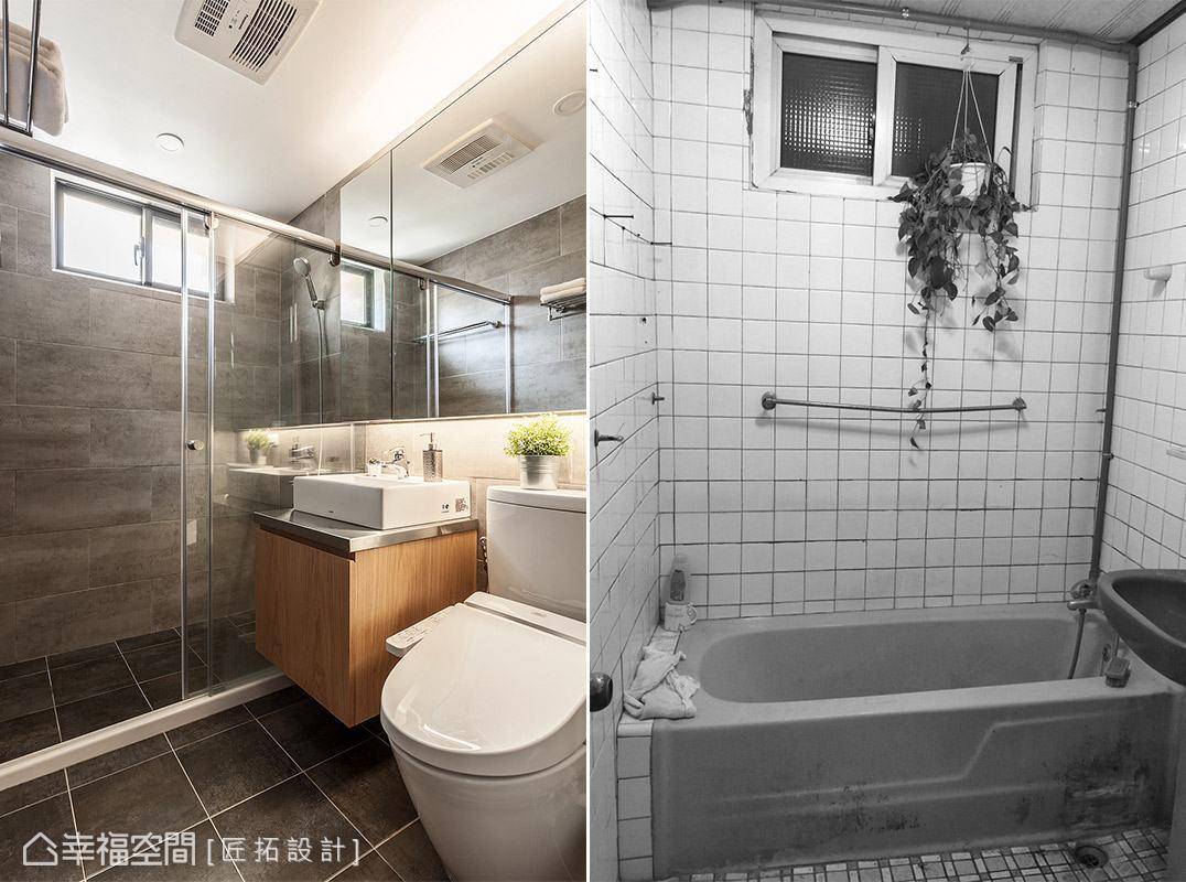 因應居住者實際需求,舊有浴缸拆除,改以乾濕分離設計,打造媲美飯店等級的舒適機能。
