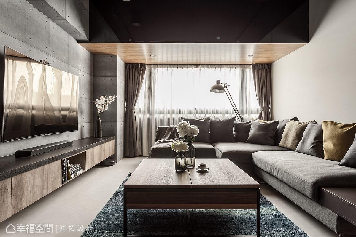 空間內沒有多餘的裝飾造型,僅適度透過材質包覆與軟件搭配,堆疊場域的視覺美感。