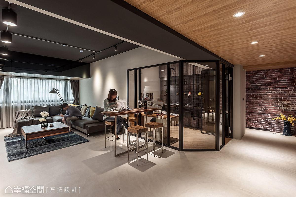 以家具配置確立場域機能性,高吧檯形式取代傳統餐桌椅,為生活注入些許休閒氛圍。