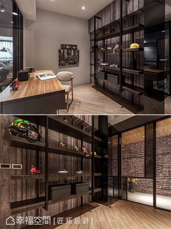 以大量木質元素鋪陳,營造沉穩安定的空間氛圍,並規劃開放展示機能,簡單擺放裝飾品,就能創造豐富趣味的表情變化。
