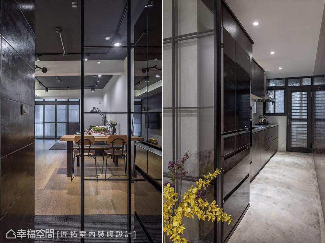 延續工業風主題,利用金屬磚、水泥粉光地板鋪陳,並因應屋主需求選用不鏽鋼作為爐具檯面,形塑特色十足的廚房空間。