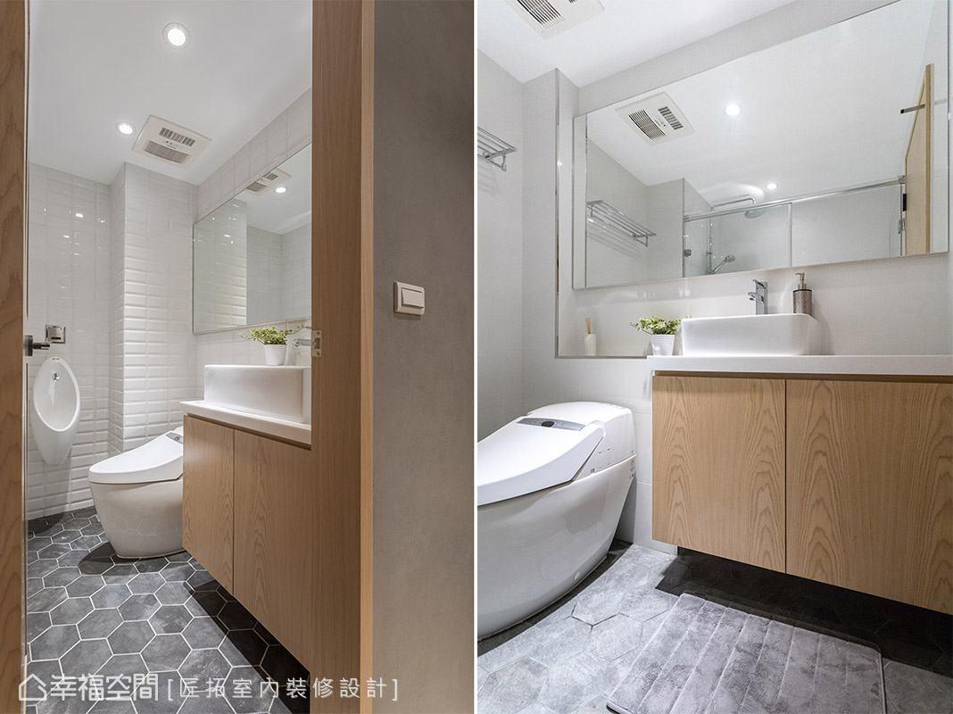 適度縮小主臥室,以擴大兩間衛浴的面積,讓主浴和客浴能享有更便利的機能。
